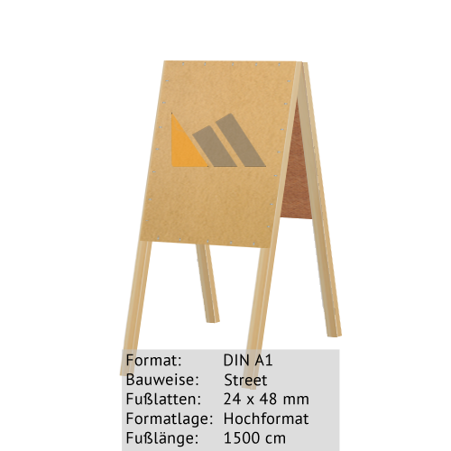 Holz-Dachständer zum Bekleben mit Plakaten DIN A1 24 x 48 mm günstig online kaufen bei McPoster.com