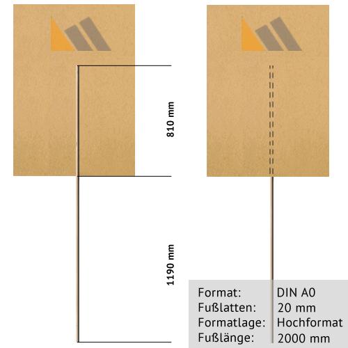 Transparente zum Bekleben DIN A0 | 20 mm x 2000 mm Rundholz-Tragestab | Sperrholz 6 mm wasserfest ve