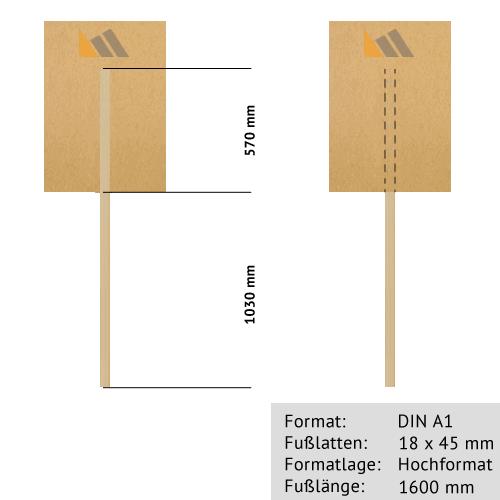 Transparente zum Bekleben DIN A1 | 20 mm x 2000 mm Rundholz-Tragestab | Sperrholz 6 mm wasserfest ve